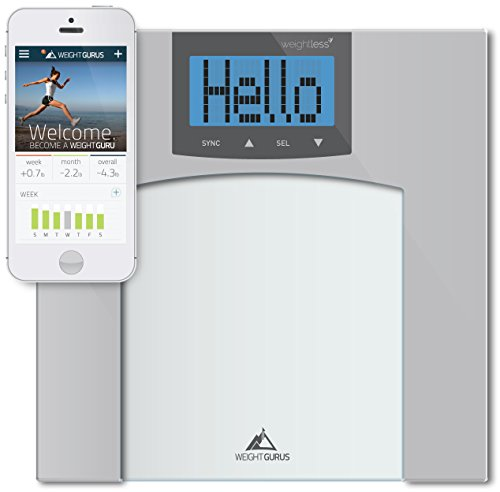 Weight Gurus Digital Bathroom Scale with Large Backlit LCD and Smartphone Tracking (Clear)