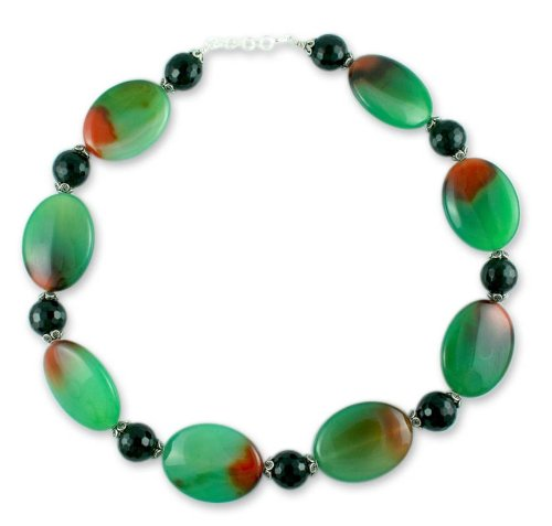 Agate and onyx strand necklace, 'Cool Ocean'