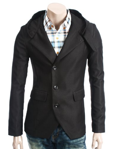 Doublju Mens Casual long Sleeve Safari Jacket BLACK L (135D)