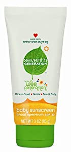 Seventh Generation Baby Sunscreen SPF 30, 3 Ounce