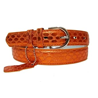 Genuine Leather Women's Dress Belt Basic Colors Orange Medium