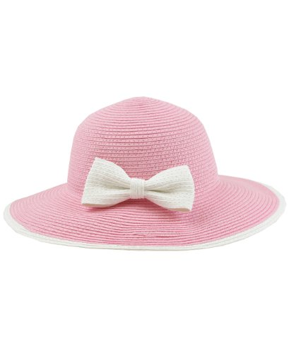RuffleButts® Infant / Toddler Girls Summer Sunhat w/ Bow - Pink w/White - 12-24m