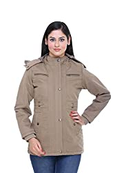 Trufit Full Sleeves Solid Women's Mouse Medium Length Removable Hood Cotton Parka Jacket