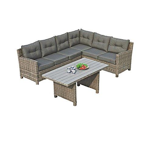 Gartenlounge OUTLIV. Minesota Dining-Loungeset rechts 3-teilig Geflecht Kubu / Kissen Sand 700016-835761
