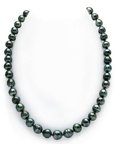 8-10mm Dark Tahitian South Sea Circle-Baroque Pearl Necklace