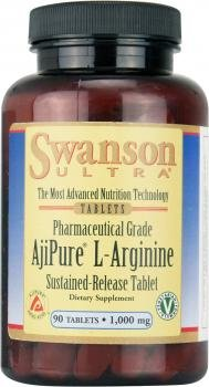 Swanson Ultra AjiPure L-Arginine (1000mg, 90 Sustained-Release Vegetarian Tablets)