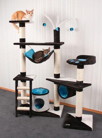 Designer Kratzbaum XXL 150 x 70 cm mit 3 Sisalstämmen + Hängematte + Röhre + Leiter + Höhle + 3 Bälle Katzenbaum Kratz-Baum für Katzen blau/braun/weiß/türkis/beige/schwarz Katze Kletterbaum klettern spielen kuscheln waschbar Erziehung Spielzeug kaufen