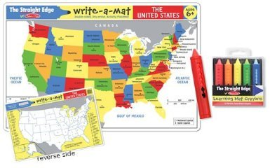 usa map learning place mat
