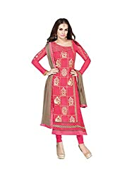 Amyra Women's Georgette Dress Material (AC787-08, Pink)
