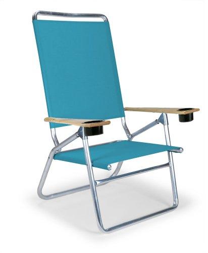 Telescope Casual Light and Easy High Boy Folding Beach Arm Chair with Cup Holders, Aqua