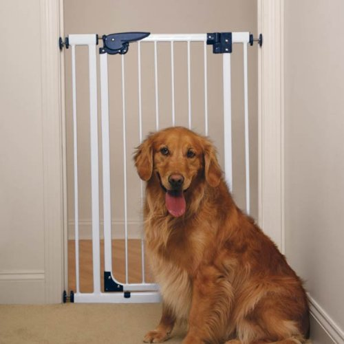 Pet Studio Steel/Plastic Pressure-Mounted X-Tall Dog Gate, White