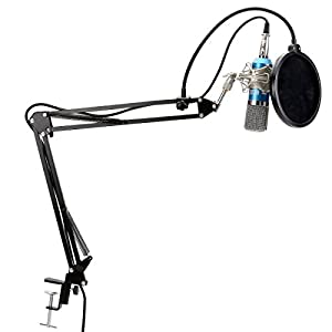 TONOR Professional XRL to 3.5mm Podcasting Studio Recording Condenser Microphone with Adjustable Microphone SuspensionBoom Scissor Arm Stand & Metal Shock Mount & Microphone Kits
