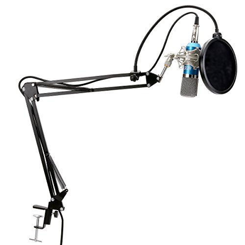 TONOR Professional XRL to 3.5mm Podcasting Studio Recording Condenser Microphone with Adjustable Microphone Suspension Boom Scissor Arm Stand & Metal Shock Mount & Microphone Kits