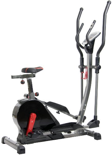 Body Power Deluxe 2-in-1 Cardio Dual Trainer, Silver/Black/Red