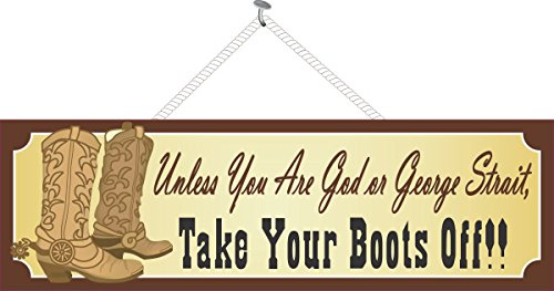 """Old West Remove Shoes Sign with Spurs, Cowboy Boots & Western Font - Fun Sign Factory Original Cowboy Art - 16"""" x 5"""" x 3/8"""" Western Decor"""
