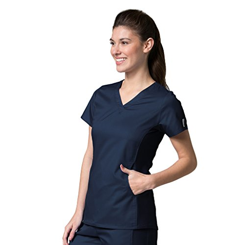 Active By EON Women's Coolmax Mesh Panel V-Neck Solid Scrub Top X-Small True Navy (Mesh Side Scrubs compare prices)