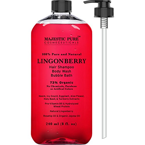 Majestic Pure Lingonberry Body Wash & Vitamin Shampoo, 8 fl oz - Natural Hyperpigmentation & Skin Whitening - Gentle, Sulfate Free Natural Shampoo - 73% Organic Ingredients