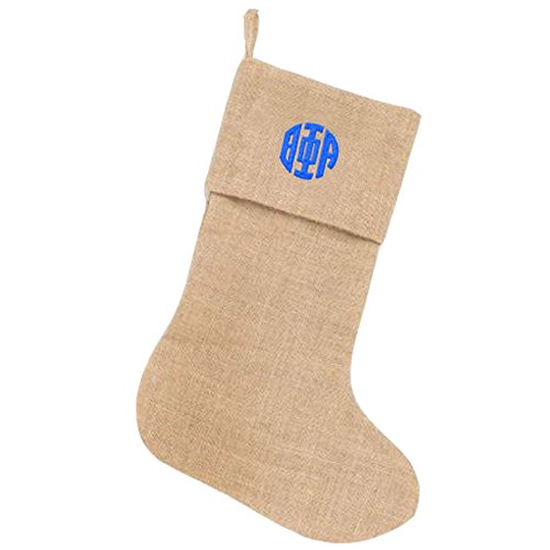 theta-phi-alpha-circle-monogram-burlap-christmas-stocking-tan-w-royal-blue