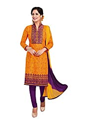 RK Fashion Womens Cotton Un-Stitched Salwar Suit Dupatta Material ( RAJGURU-PAHELI-9284-Yellow-Free Size )
