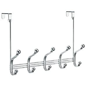 InterDesign York Over The Door Storage, 5 Hook, Chrome