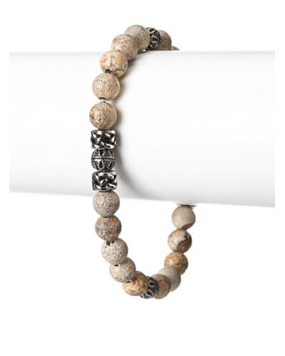 Blackjack Genuine Jasper Stainless Steel Bead Bracelet