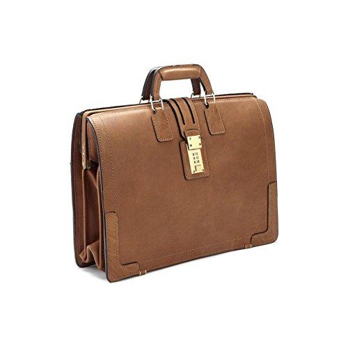 Korchmar Belting Leather Brief Bag - Brown
