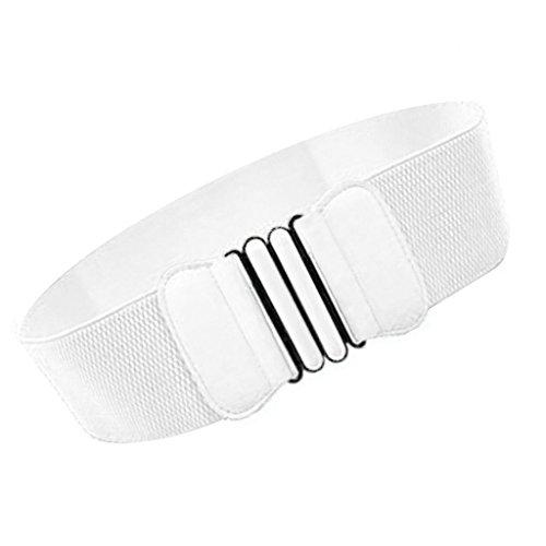 Donne Modo Signore Cintura In Vita Ecopelle Fibbia Elastica Larga - Multicolore - Bianco, taglia unica