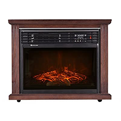 "Giantex 28"" Free Standing Electric Fireplace 1500W Glass View Log Flame Remote Home Space Heater"