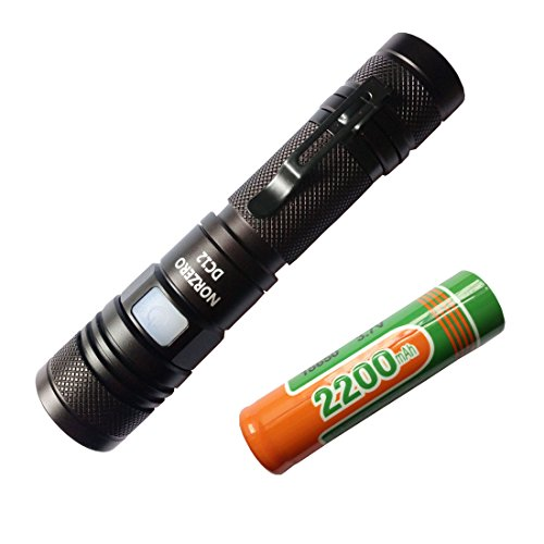 NORZERO DC12 Micro-USB Interface Rechargeable Flashlight LED Torch Kit CREE XM-L2 950 Lumens Ultra Bright Water Resistant Zoom in and out (Battery included) (Battery included) (DC12 Cool White)