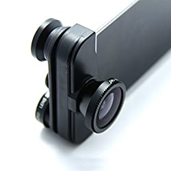 4 IN 1 CAP LENS KIT FOR IPHONE 5 5S - WIDE ANGLE, FRONT+BACK FISH EYE & MACRO LENS