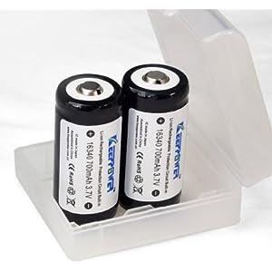 【 KEEPPOWER 16340 700mAh 2本付属】電池ケース ※付属品:DLG製Cell+SEIKO製PCB回路搭載 プロテクト付き リチウムイオン バッテリー