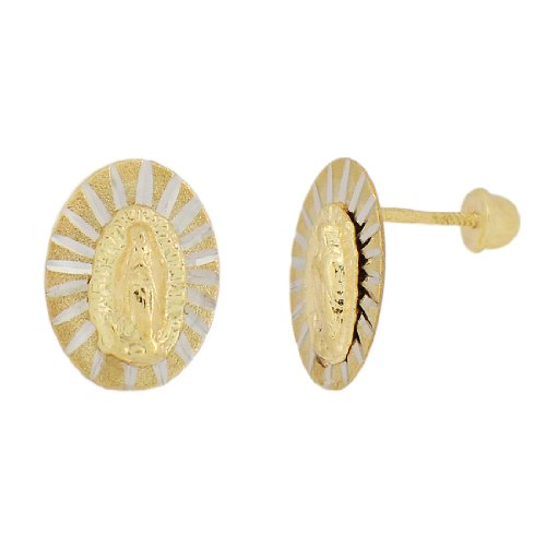 14k Yellow Gold White Rhodium Accents, Virgin Mary Design Religious Stud Screw Back Earring Sparkly Cuts