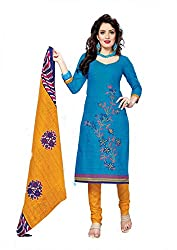 Radhika Fashions Women's Cotton Unstitched Dress Materials (AR_015, Blue, Free Size)