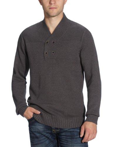 Selected - Maglia con collo a V, manica lunga, uomo, Grigio (Grau (Grey)), L