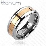 Titan Ring - Mittig Rotgold/Roségold, Bandring 8 mm breit (Größe frei wählbar)