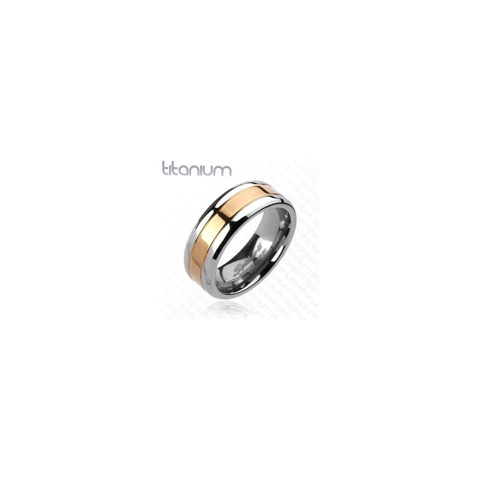Solid Titanium Rose Gold Plated IP Center Band Ring   Size 9 13, 9