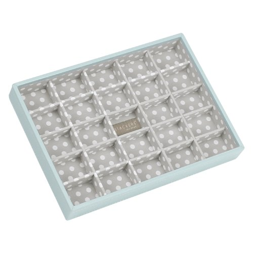 Stackers Jewellery Box | Classic Duck Egg Blue & Gray Polka Dot Criss Cross Stacker