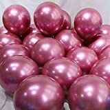 BALONAR 3.2g 12Inch 100pcs Metallic Chrome Balloon in Rose Red for Wedding Birthday Party Decoration (Rose Red) (Color: Rose Red)