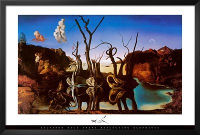 Professionally Framed Salvador Dali Swans Reflecting Elephants Art Print Poster - 24x36 with RichAndFramous Black Wood Frame (Salvador Dali Pictures compare prices)
