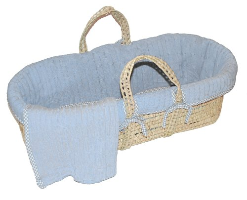 Great Features Of Tadpoles Cable Knit Moses Basket Set in Blue