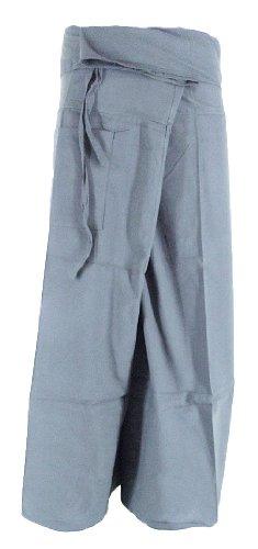 Grey Toray – Men Women Thai Fisherman Pants Yoga  Trousers by Thai Spicy Free Size