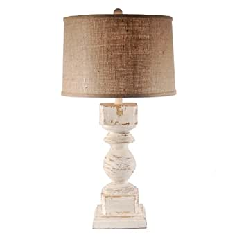 white washed real wood column table lamp shabby chic lamp base. Black Bedroom Furniture Sets. Home Design Ideas