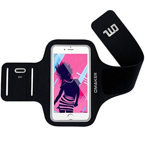 【強化版】Omakerスポーツアームバンド 超軽量超薄ランニングアームバンドケース【縫い目なし/防汗/調節可能】iPhone5/iPhone6plus/Xperiaなどに対応 ブラック