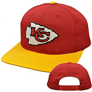 NFL Kansas City Chiefs Red Yellow Vintage Retro Deadstock Snapback Logo Hat Cap by Annco