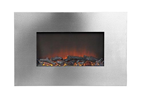 """35"""" Wide Wall Mount Firebox In Silver"""