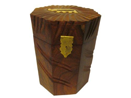 JBJ Wooden Octangle Shape Money Bank with Cutter and Brass Work - 1