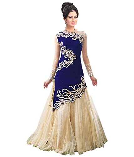 Omstar-Fashion-Womens-Georgette-Anarkali-Suit-OMA-22BlueFree-size