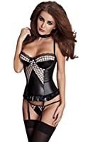 Sexy Wet Look Corset Top With Lace Detail Adjustable Suspender Straps & Matching Thong