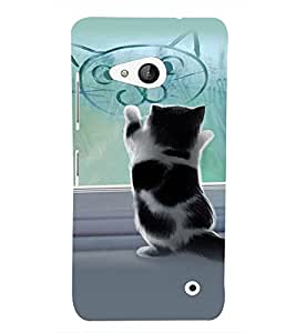 PrintVisa Stylish Cool Girl Cat 3D Hard Polycarbonate Designer Back Case Cover for Nokia Lumia 550