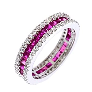CZ Ruby Baguette Diamond Silver Eternity Stack Ring